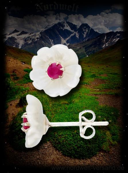 Ohrstecker, Rubin / Perlmutt -Blüten, Stecker 925er Silber