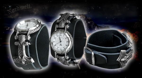 Thors- Hammer Armbanduhr mit Wolfskopf- Thorhammer Uhr mit Mjölnir