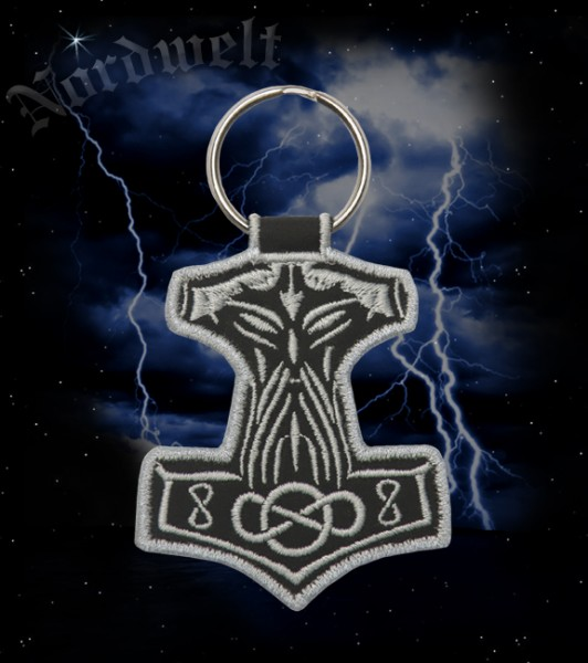Schlüsselanhänger Thorhammer/Thors Hammer/Mjölnir, gestickt