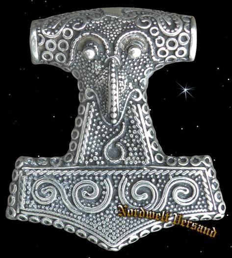 Schone Thorhammer silber Skane Rabenkopf Thors-Hammer Mjölnir Anhänger