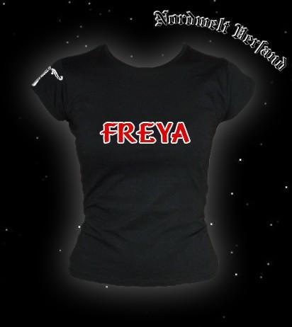 """Frauen T-Hemd """"Freya mit Irminsul"""" Schwarz"""