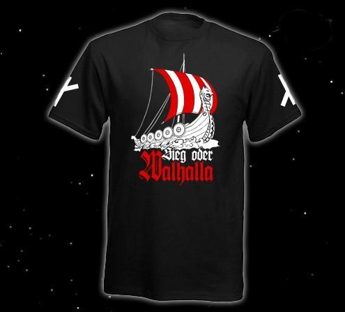 """Runen T-Shirt """"Sieg doer Walhalla"""" Walhalla, Valhalla T-Hemd schwarz"""
