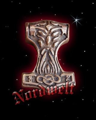 Thors Hammer Mjölnir mit Donars Kopf Thorshammer aus Bronze