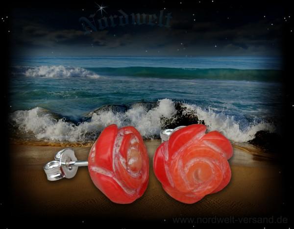 Ohrstecker Rose / Blüte aus Koralle, 925er Silber
