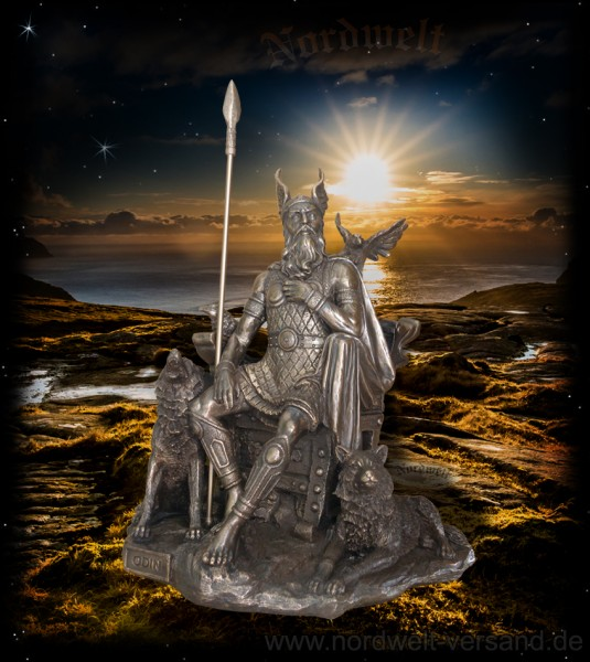 Odin Bronzierte Göttervater Figur Statue Wodan Wotan Götterfigur