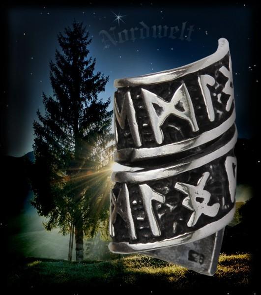 Barthülse Haarhülse mit Runen Schmuck 925er Silber Bartschmuck Bartperle