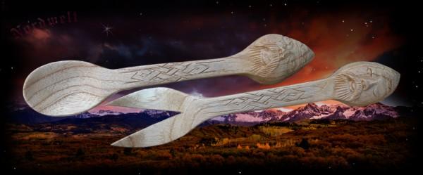 Wikinger Gabel und Löffel aus Holz