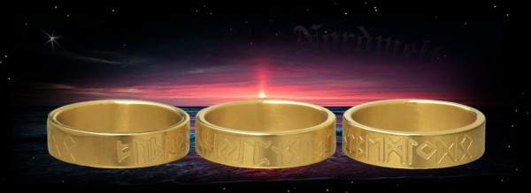 Runenring 24er gemeingermanisches Futhark Runenreihe Runen Ring Edelstahl vergoldet