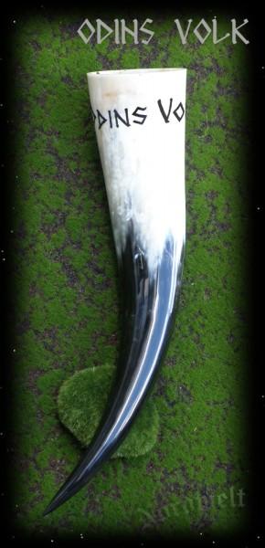 Methorn Trinkhorn mit Aufschrift Gravur Odins Volk Handarbeit Sonderantfertigung