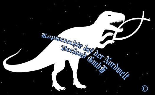 """PVC Aufkleber Aufkleber """"Dino verspeißt Fisch"""" weiß"""