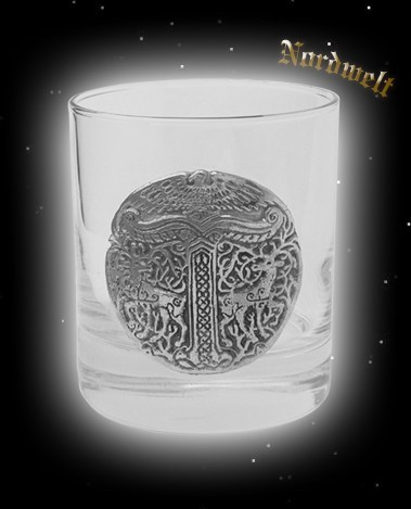 Glas mit Irminsul Adler Hräsvelg, Irminseul Kristallglas Yggdrasil Weltenesche und Hirschen