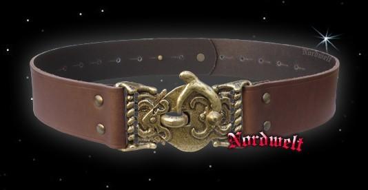 Brauner Gürtel mit Hakenschließe Ledergürtel mit Hakenverschluss Mittelalter- Reenactment Larp