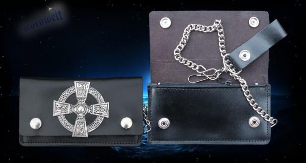 Leder Geldbörse mit Keltischen Kreuz und Kette