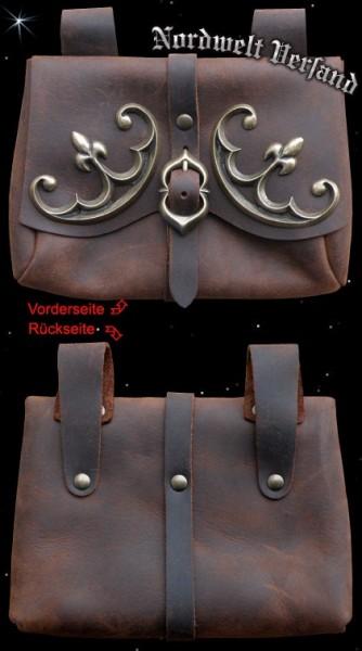 Ledertasche Mittelalter historische Lederware, Frühmittelalter, Gürteltasche mit Beschlag