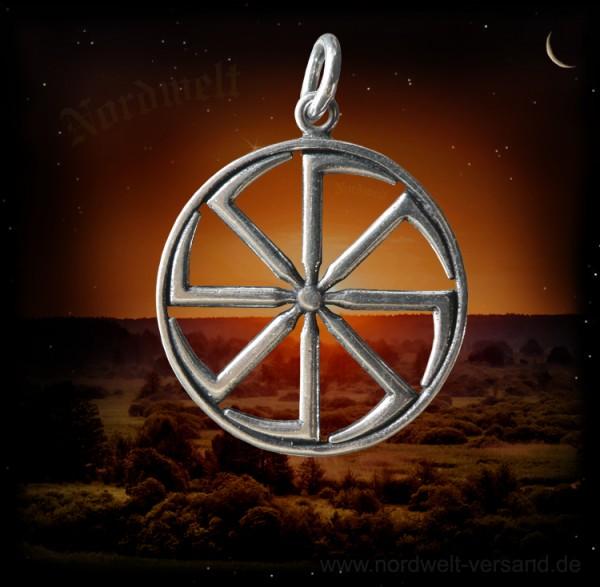 Kolovrat Sonnen u. Schutzsymbol Anhänger 925er Silber
