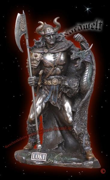 Loki der Listige, Figur Statue bronziert aus Polyresin, germanischer Gott der Täuschung
