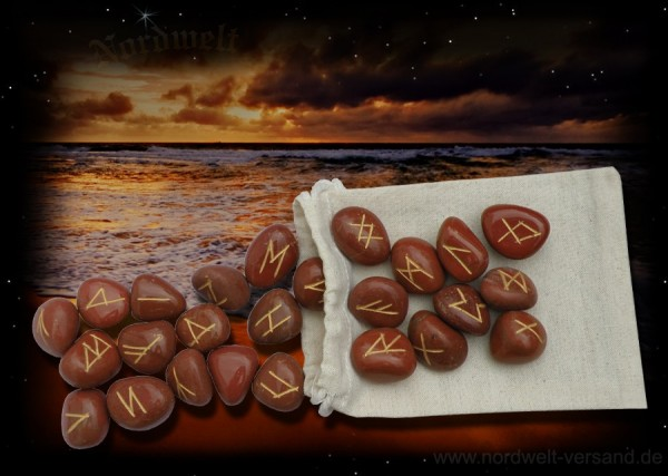 Jaspis Runen Runensteine - mit Stoffbeutel