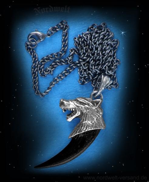 Wolfskralle mit Wolfskopr Zinnanhänger