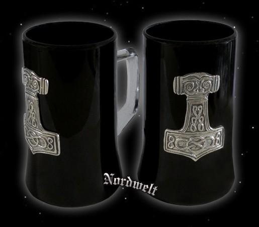 Thorhammer Kristallglas schwarzer Krug Bierglas