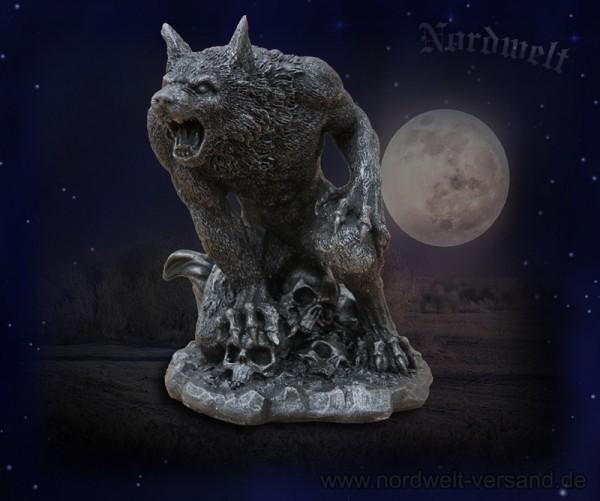 Mythologie Skulptur Mannwolf Werwolf mit Totenkopf Polyresin Figur Statue