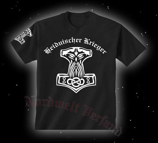"""T-Hemd Thorhammer """"Heidnischer Krieger""""schwarz,mit weißem Druck"""