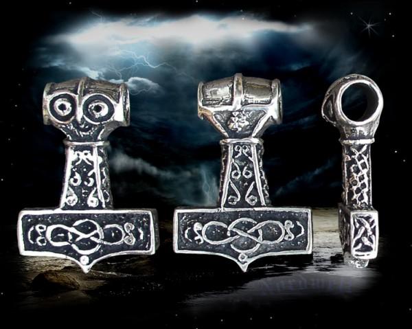 Thorhammer 925er Silber Thors-Hammer Mjölnir Zermalmer mit Endlosschlaufe
