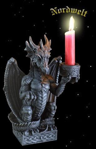 Drache Polyresin Kerzenhalter Dragon Drachen