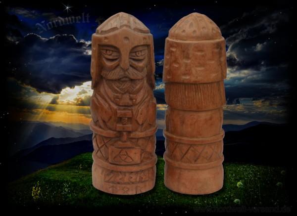 Thor Donnergott mit Thorhammer in der Hand geschnitzt aus Holz Handarbeit Donar