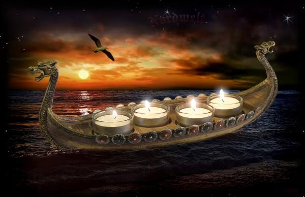 Wikingerschiff Teelichthalter Kerzenhalter Langboot Drachenboot Kerzenhalter für Brauchtum