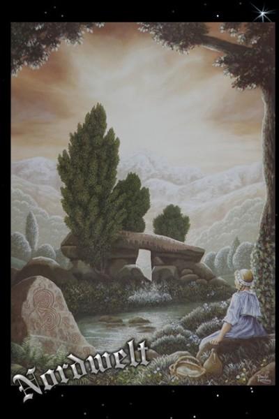 Menhir mit Maid Poster Kunstdruck