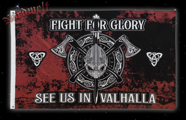 Fahne See us in Valhalla - Fight for Glory Wikingerfahne Stoffposter Flagge Wikinger Hissfahne