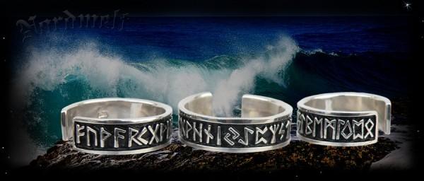 24er Futhark Runenring gemeingermanische Runenreihe Ringe mit Runen Silber
