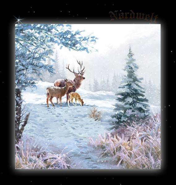 """Servietten """"Rotwild Familie"""" (Hirsch Reh und Kitz) im Schnee"""