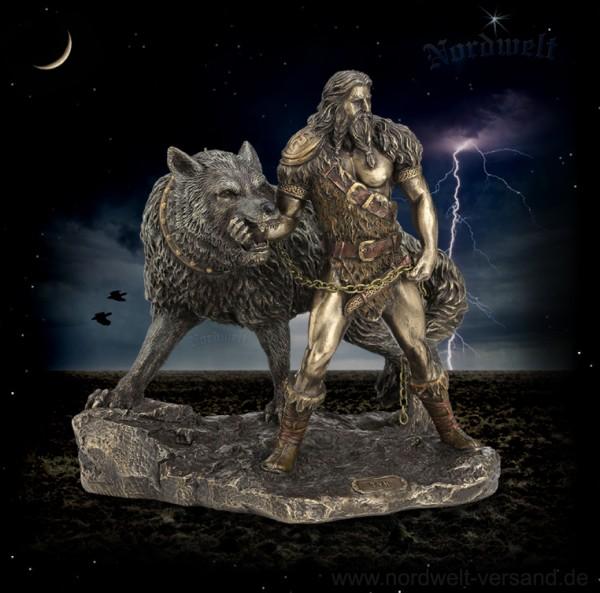 Kriegsgott Tyr mit Fenriswolf Himmelsgott Befehlshaber der Einherier Statue Bronzefiguren Figur Skupltur