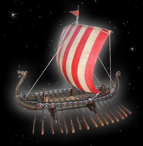 Wikingerschiff Langschiff aus Polyresin, Drachenschiff Modell Wohnzimmer Dekoration