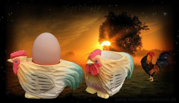 Eierbecher Osterfest Göttin Ostara Jahreskreisfest Hahn aus Lindenholz geschnitzt
