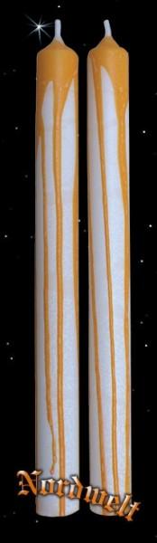 Stabkerze/Tafelkerze, weiss mit Dekor in orange