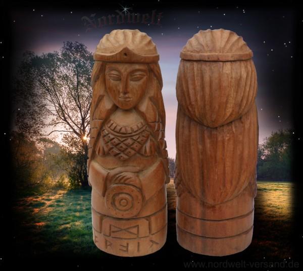 Frigga Odins Frau Götterfigur aus Holz geschnitzt Handarbeit Frigg Frau Holle