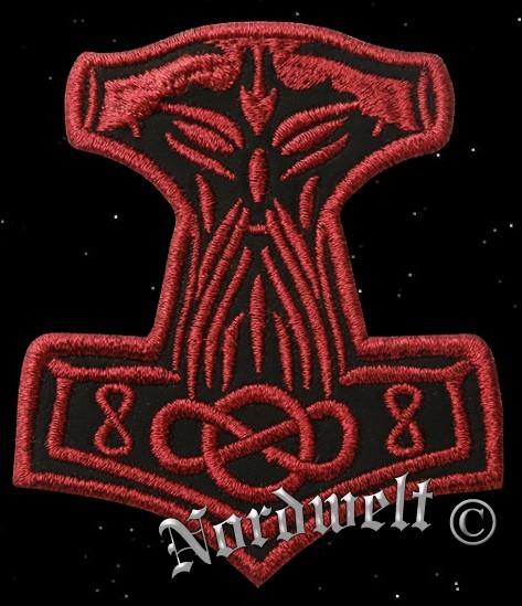 """Aufnäher """"Thorhammer"""", Stickerei rot - klein"""