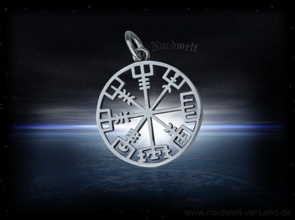 Vegvísir Wegweiser Edelstahl Anhänger Wikinger Kompass