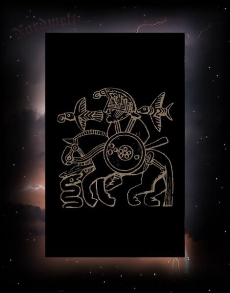 """Stoffposter """"Odin auf Sleipnir"""" schwarz / bronze"""