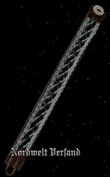 Saami Lederarmband schwarz - braun - silber (2)