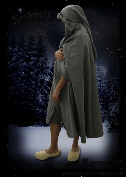 Mittelalter grauer Wollumhang Mantel Mittelalter und LARP- Kleidung grau Baumwolle warm Wolle Kapuzenumhang
