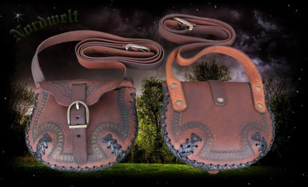 Braune Umhängetasche aus Leder für Larp Mittelalter- Reenactment Wikinger