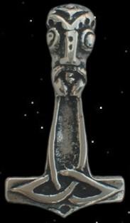 Thorhammer mit Thorskopf - 925er Silber