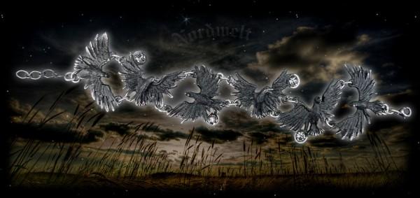 Armkette Odins Raben, Hugin und Munin im Flug aus Zinn angefertigt