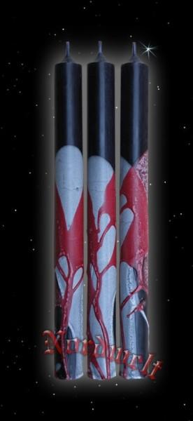 Stabkerze/Leuchterkerze schwarz mit rot-weissem Dekor