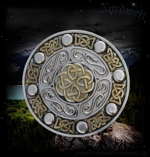 Gürtelschnalle keltisch, vergoldet rund