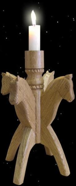 Kerzenhalter aus Eichenholz mit Pferdeköpfen Ahnenerbe Brauchtum Handarbeit