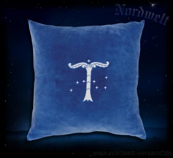 Nicki Kissen (40 x 40 cm), blau, aufgestickte Irminsul